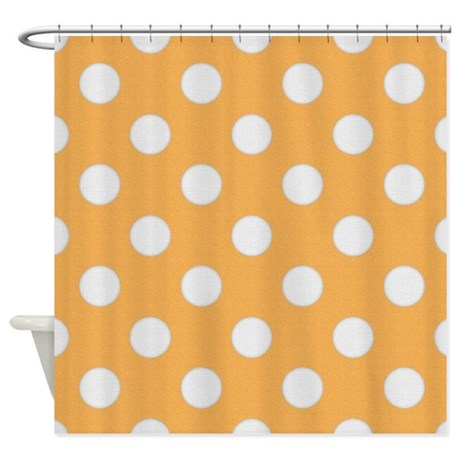 Yellow with Big White Dots Shower Curtain