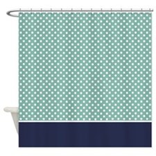 Green with Little White Dots 2 Shower Curtain