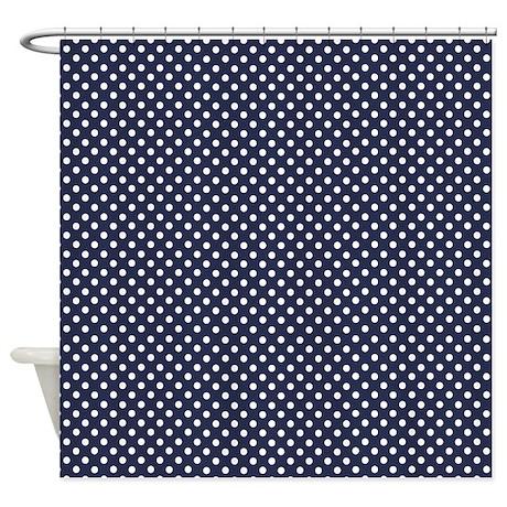 dark blue with little white dots shower curtain by marlodeedesignsshowercurtains. Black Bedroom Furniture Sets. Home Design Ideas