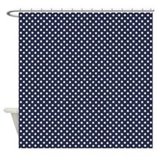 Dark Blue with Little White Dots Shower Curtain