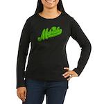 Midrealm Green Retro Women's Long Sleeve Dark T-Sh