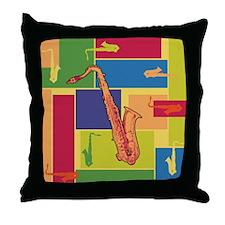 Saxophone Colorblocks Throw Pillow