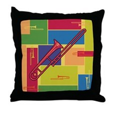 Trombone Colorblocks Throw Pillow