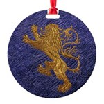 Rampant Lion - gold on blue Ornament