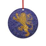 Rampant Lion - gold on blue Ornament (Round)