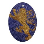 Rampant Lion - gold on blue Ornament (Oval)