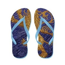 Rampant Lion - gold on blue Flip Flops