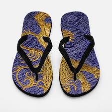Rampant Lion - gold on blue Flip Flops
