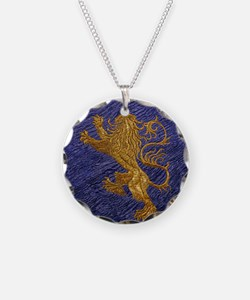 Rampant Lion - gold on blue Necklace