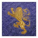 Rampant Lion - gold on blue Square Car Magnet 3