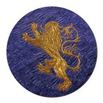 Rampant Lion - gold on blue Round Car Magnet