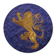 Rampant Lion - gold on blue Round Car Magnet
