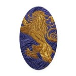 Rampant Lion - gold on blue Oval Car Magnet