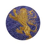 Rampant Lion - gold on blue 3.5