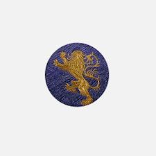 Rampant Lion - gold on blue Mini Button