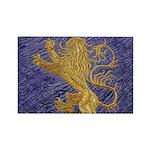 Rampant Lion - gold on blue Rectangle Magnet (10 p