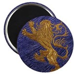 Rampant Lion - gold on blue 2.25