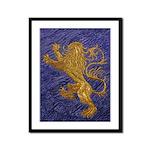 Rampant Lion - gold on blue Framed Panel Print