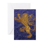 Rampant Lion - gold on blue Greeting Cards (Pk of