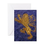 Rampant Lion - gold on blue Greeting Card