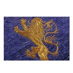 Rampant Lion - gold on blue Postcards (Package of