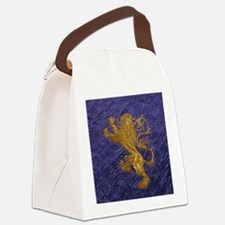 Rampant Lion - gold on blue Canvas Lunch Bag