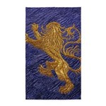 Rampant Lion - gold on blue 3'x5' Area Rug