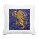Rampant Lion - gold on blue Square Canvas Pillow