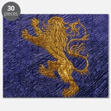 Rampant Lion - gold on blue Puzzle