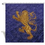 Rampant Lion - gold on blue Shower Curtain