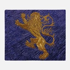 Rampant Lion - gold on blue Throw Blanket