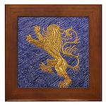 Rampant Lion - gold on blue Framed Tile