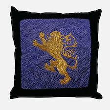 Rampant Lion - gold on blue Throw Pillow