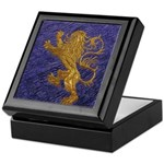 Rampant Lion - gold on blue Keepsake Box