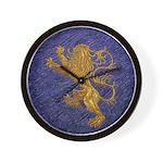 Rampant Lion - gold on blue Wall Clock