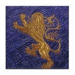Rampant Lion - gold on blue Tile Coaster