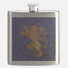 Rampant Lion - gold on blue Flask