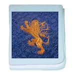 Rampant Lion - gold on blue baby blanket