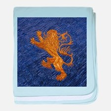 Rampant Lion - gold on blue baby blanket