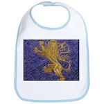 Rampant Lion - gold on blue Bib