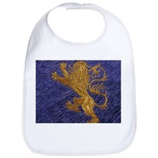 Rampant Lion - gold on blue Bib