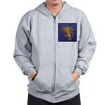 Rampant Lion - gold on blue Zip Hoodie