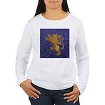 Rampant Lion - gold on blue Long Sleeve T-Shirt