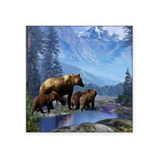 "Mountain Grizzly Bears Square Sticker 3"" x 3"""