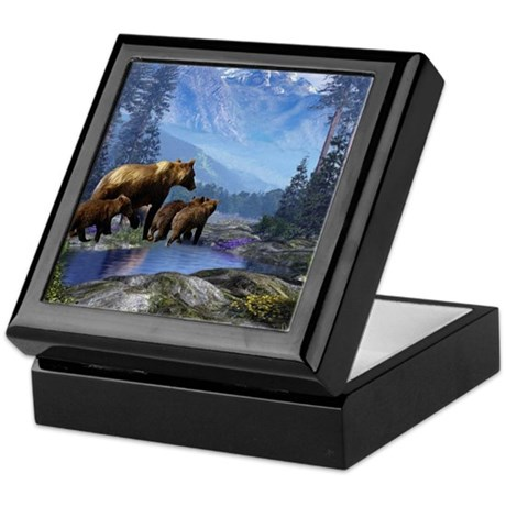 Mountain Grizzly Bears Keepsake Box