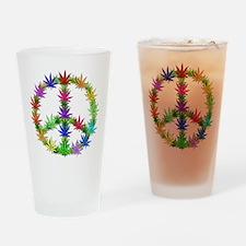 Rainbow Peace Marijuana Leaf Art Drinking Glass