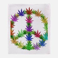 Rainbow Peace Marijuana Leaf Art Throw Blanket