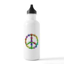 Rainbow Peace Marijuana Leaf Art Sports Water Bottle