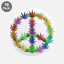 "Rainbow Peace Marijuana Leaf Art 3.5"" Button (10 p"