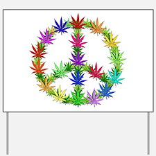 Rainbow Peace Marijuana Leaf Art Yard Sign